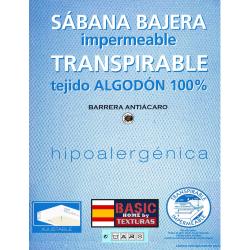 TEXTURAS HOME - Sábana Bajera Adaptable IMPERMEABLE Y TRANSPIRABLE Tejido Algodón 100% + Base PU (Válido para el látex)