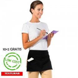 TEXTURAS HOME - Delantales para Camareros (10+2 GRATIS ) Delantales Cortos para la Cintura - Negro