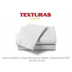 TEXTURAS BASICS - Juego de sábanas Blancas 50/50 para Hoteles y Apartamentos ( Diferentes tamaños disponibles )