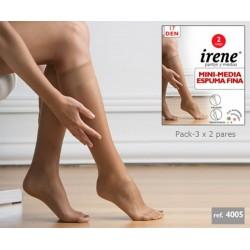 IRENE - ( 3 Packs de 2 pares ) Minimedia ESPUMA FINA para mujer TALLA ÚNICA Color Scala 4005 DEN 17