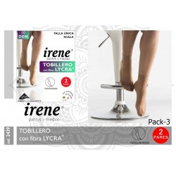 IRENE - ( Pack x 3 ud. ) Minimedia Tobillero con Fibra LYCRA PUNTERA INVISIBLE para mujer TALLA ÚNICA Color Tabac 2439 DEN 10