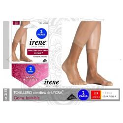 IRENE - ( 3 Packs ) Minimedia TOBILLERO con fibra Lycra GOMA INVISIBLE para mujer TALLA ÚNICA Color Scala 2115 DEN 15