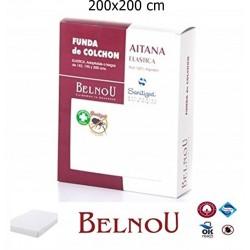 Funda de Colchón AITANA Antiácaros Rizo 100% Algodón Elástica BELNOU Tamaño ( Cama 200X200 cm )
