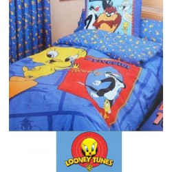 WARNER BROS - Juego de funda nordica + bajera + f. almohada CARTOON ( cama de 90 x 195 cm )