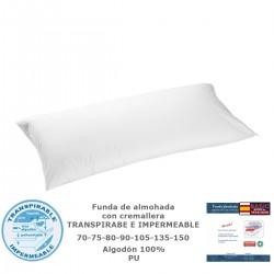 TEXTURAS HOME - Funda de almohada IMPERMEABLE Y TRANSPIRABLE Algodón 100% Blanco ( Especial viscoelástico )