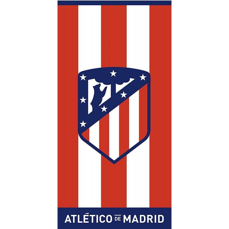 ATLÉTICO DE MADRID - Toalla de playa Jaqcuard Terciopelo 100% algodón BLUE 152 X 76 cm