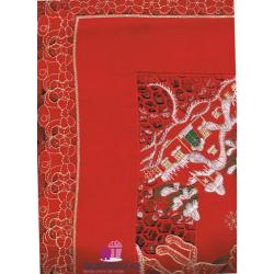 Mantel Bordado Navidad Trineo Rojo