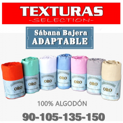 Sábana Bajera Ajustable ALGODÓN 100% TEXTURAS ORO Especial (110 HILOS) Ideal para pieles sensibles