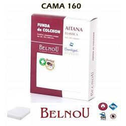Funda de Colchón AITANA Antiácaros Rizo 100% Algodón Elástica BELNOU Tamaño Cama 160