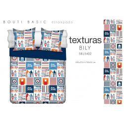 TEXTURAS HOME SECRET Quilt Bouti Verano Basic BILY Azul 180X255 cms