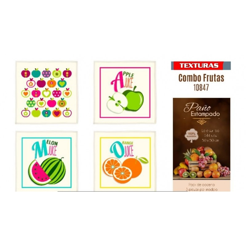 TEXTURAS HOME SECRET PACK-12 Paños de Cocina ALGODÓN 100% Estampado MIX 848