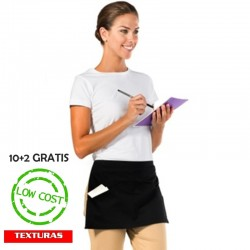 TEXTURAS HOME - Delantales para Camareros x 10 - Delantales Cortos para la Cintura - Negro