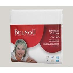 BELNOU - Protector Colchón ALTEA TRANSPIRABLE E IMPERMEABLE 100% Algodón Natural ( Diferentes tamaños disponibles )