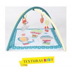 TEXTURAS BABY - Gimnasio de actividades para Bebé 70x70 cm AQUA