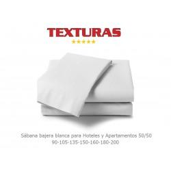 TEXTURAS BASICS - Sábana Bajera para Hotel y Apartamentos ECONOMY Blanco ( Varios tamaños disponibles )