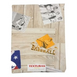 TEXTURAS HOME - Cortina loneta estampada trabillas BASEBALL 260X150 cms