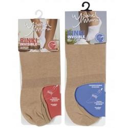 YSABEL MORA - ( Pack 2 pares ) Pinki invisible de algodón remallado a mano con tira de silicona interior