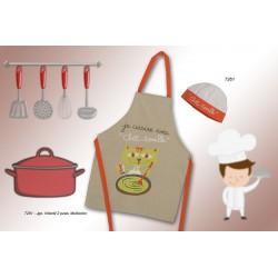TEXTURAS HOME - Set Infantil de Cocina Gorro + Delantal 7261 Color único 40x58 cm