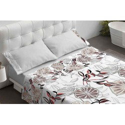 Burrito Blanco - Juego de sábanas 110 FASHION Hojas Beige 150 x 190/200+28 cm