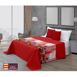 PERFECT HOME - Colcha de verano estamapda Bouti NUEVA YORK Rojo 180X260 CM