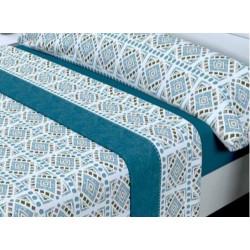 Juego de sábanas Invierno Térmica 120 gr Picolo Azul ( Cama 135 x 200 cm )