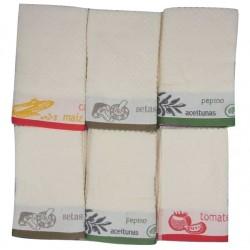 Pack de 6 Paños de Cocina Rizo Algodón 100% MULTICOLOR Cenefa