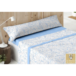 Juego de Sábana Coralina DORVEL Burrito Blanco 721 Azul 90 x 190/200 cm