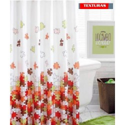 TEXTURAS HOME SECRET - Cortina Baño 4002420 PUZZLE MIX 180X140 CMS