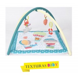 TEXTURAS BABY - Gimnasio de actividades para Bebé 70x70 cm Verde