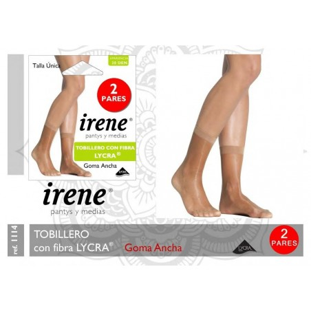IRENE - ( 3 Packs x 2 ud. ) Minimedia Tobillero GOMA ANCHA con Fibra LYCRA para mujer TALLA ÚNICA Color Scala 2114 DEN 20