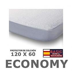 Protector de colchón CUNA Rizo 100% Algodón IMPERMEABLE 60X120