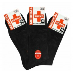 MEDICAL SOCKS - Pack 12 pares de Calcetines Hilo de Algodón 100% Algodón ECONÓMICOS color Negro.