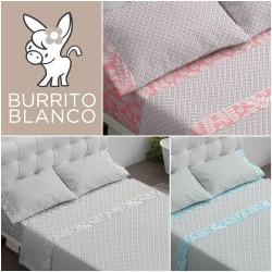 BURRITO BLANCO - Juego de sábanas 476 Claro de luna 150 x 190/200 + 28 cm