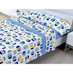 Juego de sábanas Invierno Térmica 120 gr Picolo Azul ( Cama 105 x 200 cm ))