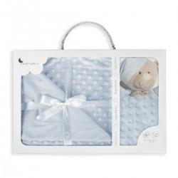 Interbaby - Set Manta Burbuja y Dou Dou Osito Azul 70x100 cm