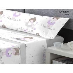 KABELY - Juego de sábanas Coralina Invierno Lyssa Gris 90X190/200 cm